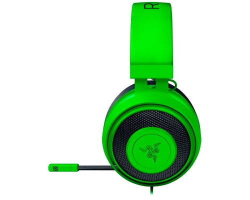 Razer Kraken Green 2019, Drivers: 50 mm with Neodymium magnets, Frequency response: 12 Hz – 28 kHz, Cooling Gel-Infused Cushions, Bauxite Aluminum Frame, Retractable Unidirectional Microphone, Input power: 30 mW (Max), Impedance: 32 ? @ 1 kHz, image 1