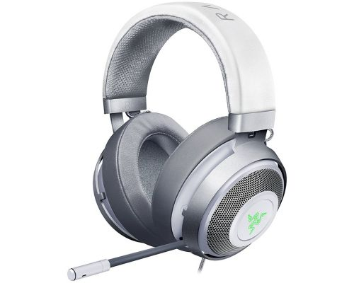 Razer Kraken White 2019, Mercury, Drivers: 50 mm with Neodymium magnets, Frequency response: 12 Hz – 28 kHz, Cooling Gel-Infused Cushions, Bauxite Aluminum Frame, Retractable Unidirectional Microphone, Input power: 30 mW (Max), Impedance, image 1