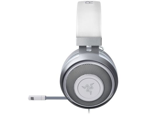 Razer Kraken White 2019, Mercury, Drivers: 50 mm with Neodymium magnets, Frequency response: 12 Hz – 28 kHz, Cooling Gel-Infused Cushions, Bauxite Aluminum Frame, Retractable Unidirectional Microphone, Input power: 30 mW (Max), Impedance, image 2