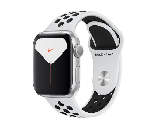 Apple Watch Nike Series 5 GPS, 44mm Silver Aluminium Case with Pure Platinum/Black Nike Sport Band, image 2